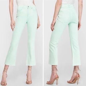 """New Express Cropped Flare High Rise Jeans 11"""" Rise"""